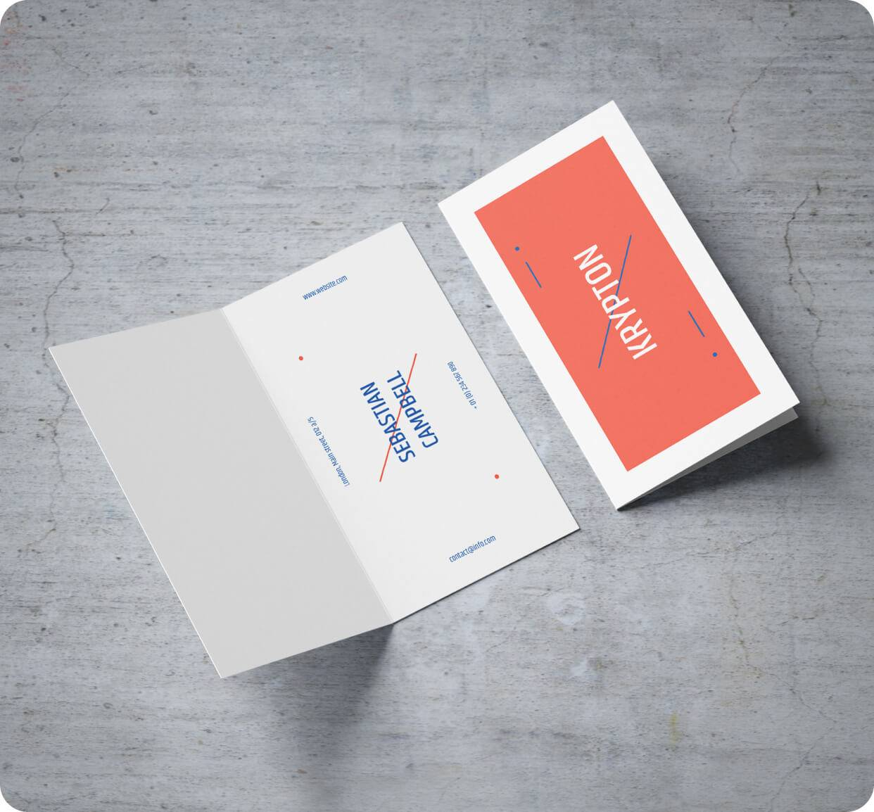 Folded Business Cards 14pt Stock + Matte Finish